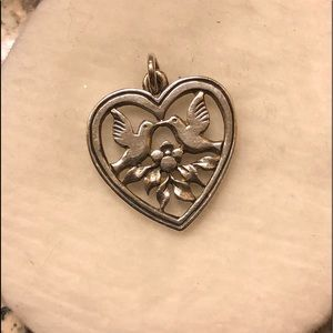 James Avery Retired Heart with 2 dove birds Charm